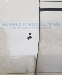 Vauxhall Vivaro - 2017 - Hole in the door break in repair - Sussex Installations UNI-REP-SHIELD-85-160 - Online Shop & Worldwide Delivery - Sussex - London & The South East