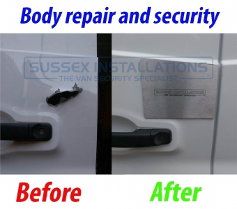 Vauxhall Vivaro / Renault Trafic hole in the door repair - Sussex Installations VAU5-V2.0-EXTERNAL-INTERNAL - Online Shop & Worldwide Delivery - Sussex - London & The South East