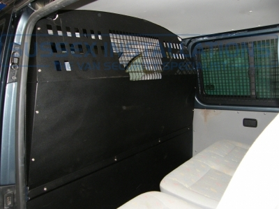 View of the bulkhead that we fitted from the rear of the van. - VW - Transporter / Caravelle (null/nul) - VW Transporter T32 TDI Bulkhead and Window Grill - Online Shop & Worldwide Delivery - Sussex - London & The South East