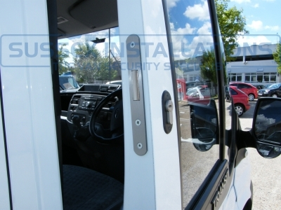 Drivers door open showing deadlock. - Ford - Transit - Transit MK7 (07-2014) - Sussex Installations T SERIES VAN DEADLOCKS GENERAL - Online Shop & Worldwide Delivery - Sussex - London & The South East