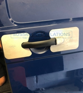 We have fitted 2 x Armaplates to this door. The normal handle and lock plate to the right and the pivot plate to the left. - VW - Transporter / Caravelle - Transporter T6 (2015 - ON) - Armaplate SENTINEL - VW T6 & T5 - Online Shop & Worldwide Delivery - Sussex - London & The South East