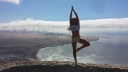 Melodie Bohny doing the tree pose beautifully. - Yoga on the beach - Jandia - Morro Jable - Fuerteventura - Canary Islands