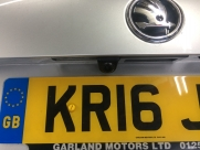 Rear view camera installed above the number plate on a Skoda Octavia Estate - MAS Skoda Octavia RVC - YATELEY - HAMPSHIRE