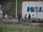 Calais Migrant Chaos After tunnel Death Delays 7th July 2015 - Eastbourne - Sussex - Surrey - London