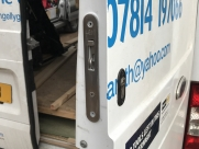 Ford Transit Mk7, Rear barn door. Lock shown in unlocked position. - Van Locks - YATELEY - HAMPSHIRE