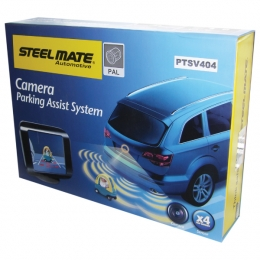 Steelmate PTSV404 Fully fitted rear parking sensors with camera and monitor ESSEX