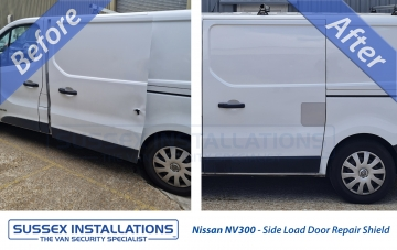 Sussex Installations NIS5-NSL-EXT-001    Nissan NV300 - Nearside Side Load Door External Repair Shield  (2014-Onwards) External repair shield for the Nissan NV300 van to repair damage as a result of the new trend of hole through the side load door attacks for Renault Trafic vans from 2014Onwards Sussex - London & The South East