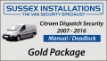 Sussex Installations CIT3-GP-2S-RB-D Citroen Dispatch 2007-2016 - GOLD PACKAGE Citroen Dispatch 20072016 Security  Gold Package  Manual  Deadlock Sussex - London & The South East